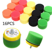 "16Pcs 2"" inch Flat Polishing Buff Pad Set For Air Sander Car Polisher Thread TOP"
