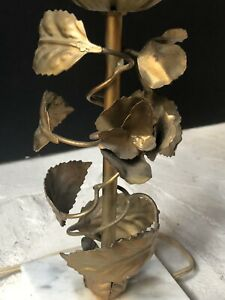 RARE Vintage Gold METAL Antique Lamp Lampshade LEAVES Flowers *HOLLYWOOD REGENCY
