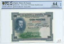 100 pesetas 1925 (ND 1936) Spain PCGS MS-64 OPQ Pick 69c España Espagne P