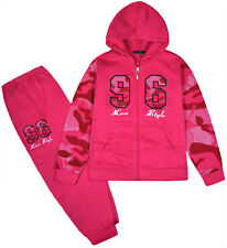 Girls Tracksuit Camo Sleeves New Kids Hoodie And Joggers Set 2PSC Age 2 - 10 Yrs