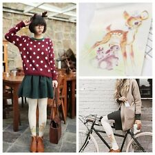 Cute Women Printing Deer 80D Velvet Pantyhose Stocking Tights Summer Long Socks