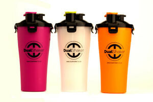 DUAL SHAKER-LEAK PROOF LID- BPA FREE-2 X 350ML COMPARTMENTS BOTTLE