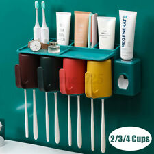 2/3/4 Cups Toothbrush Holder Rack Toothpaste Extruder Dispenser Wall Mounted