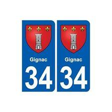 34 Gignac blason ville autocollant plaque stickers droits