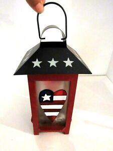 "Metal Hanging Lantern Candle Holder Indoor or Outdoor Flag Desin 11"""