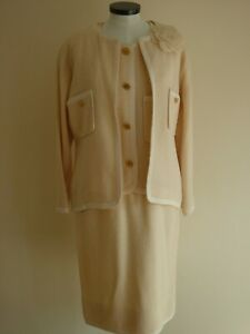 CHANEL JACKET & DRESS SUIT CREAM WOOL SILK LINED AUTHENTIC SEASON 16 UK 10