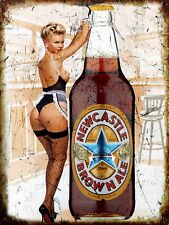 Newcastle Brown Pin Up, Retro metal Sign/Plaque, Gift, Bar/ Pub