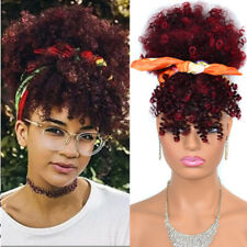 Ombre Afro Puff Kinky Curly Hair Bun Ponytail String + Bang Synthetic Wrap Hair