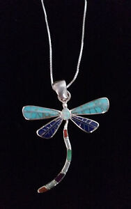 95 Sterling Silver Lapis Coral Opal DragonFly Pendant Necklace Swift Arrow