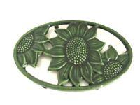 Vintage Iron Green Sunflower Enamel Painted Trivet Kitchen
