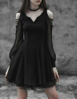 Punk Rave Little Black Dress Fit and Flare Chiffon Sleeve Gothic Boho OPQ-365