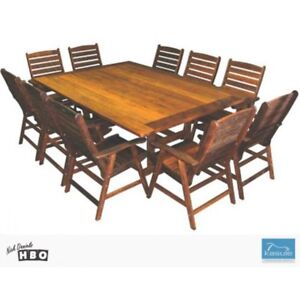 NEW Hardwood Outdoor Dining Setting Outdoor $2000 - $2799