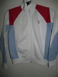 puma tracksuit top white/blue/red cotton blend size 8 uk good cond