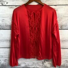 Vintage Barad Nylon Top Lace Trim Front Tie Long Sleeve Womens Large Union Made