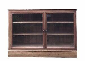 Vintage Pine Glazed Display China Bookcase Drinks Cabinet Cupboard Asymmetric