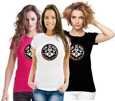 Rockers Biker Retro Custom Motorcycle Cafe Racer TON UP 100 MPH Ladies T Shirt