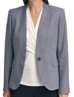 DKNY Womens Blazer Navy Blue Size 8 Denim-Look Collarless Single-Button $129 253