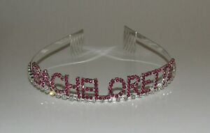 Bachelorette Tiara New Pink Crystals Clear Silver Tone