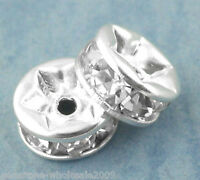 W09 30PCs Silver Plated Rondelles Rhinestone Spacers Beads 6mm Dia.