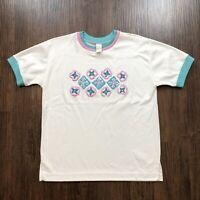 Vintage Jantzen Women's Medium T Shirt Layered Collar Floral Puff Print