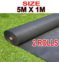 2 ROLLS 5 METERS x 1M WEED CONTROL FABRIC LANDSCAPE GROUND COVER MEMBRANE Garden
