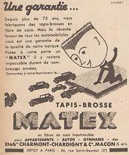 Z9227 Tapis-Brosse MATEX -  Pubblicità d'epoca - 1932 Old advertising