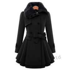 Vogue Womens British Belt Wool Blend Trench Dress Coat Double-breasted Plus Sz
