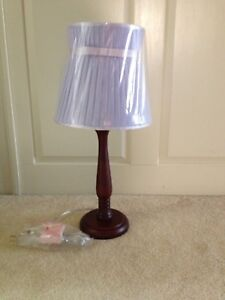 "Pottery Barn Espresso Lamp with Lavender Pleated Bow Shade ""NWT"""