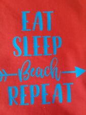 Men's personalised summer logo red vest top (Eat-sleep-beach-repeat ) size large