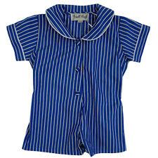 6-12m Powell Craft Boys Blue Stripe Cotton Baby Summer Romper Sunsuit Playsuit