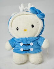 "hello kitty plush 11.5"" blue coat reindeer ref 09928-7 with white antlers Sanrio"