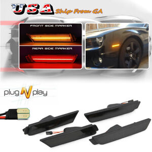 4X Smoked Lens LED Front&Rear Side Marker Lights For 2010-2015 Chevrolet Camaro