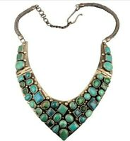 Stunning Turquoise Sterling Silver V Neck Necklace