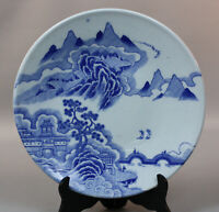 """ANTIQUE CHINESE BLUE & WHITE PORCELAIN PLATE - 10"""" DIAMETER"""