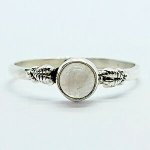 Brand New Sterling Silver 925 Moonstone (Round) Ring, Size Q