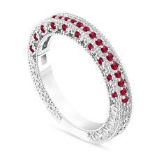Ruby Wedding Ring, Half Eternity Anniversary Band 14K White Gold Handmade 0.38ct