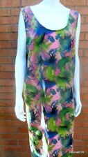 unique sleeveless pink green tropical camouflage silky shift dress bespoke 42""