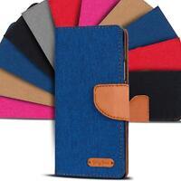 Handyhülle für Wiko Modelle Hülle Flip Case Tasche Book Cover Handy Jeans Stoff
