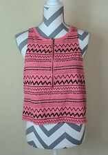 Silence + Noise Urban Outfitter Pink Black Striped Sleeveless Crop Top Sz L Used