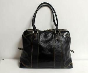 Fendi Patent Leather Boston Doctor Bag Black Tote Satchel