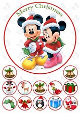 Christmas Mickey & Minnie Mouse 19cm PERSONALISED Edible Cake topper & 12 topper