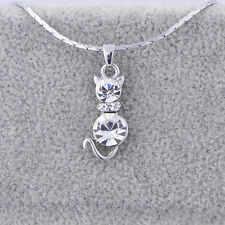 Womens White Gold Plated Cubic Zirconia Cat Pendant Stone Link Chain Necklace