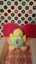 Soft Dreams Yellow blue green My First Ducky Plush Rattle Lovey ring bow cream