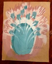 Sybil Gibson folk art painting  Outsider Vintage  Large  Flowers in Vase #1375