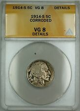 1914-S Buffalo Nickel 5c Coin ANACS VG-8 Details Corroded (Better Coin)