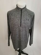 Under Armour Tech Marled Gray 1/2 1/4 Zip Logo Athletic Pullover Mens Large Euc