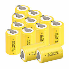 12PC Yellow BTY NiCd 4/5 SubC Sub C 1.2V 2200mAh Ni-Cd Rechargeable Battery &Tab