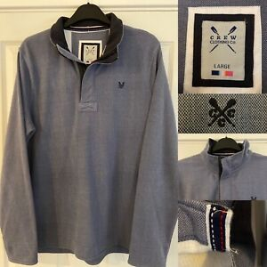 CREW CLOTHING Mens Jumper Sweater L Large Blue Cotton 1/4 Zip Overhead Pullover