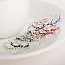 6PCS  Elastic Crystal Metal Toe Rings Wholesale Mix Color Silver Tone