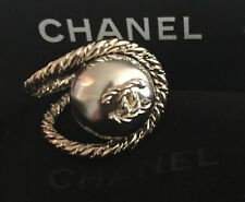 "BNWT Authentic CHANEL ""CC"" Logo Runway Statement Ring - 52"